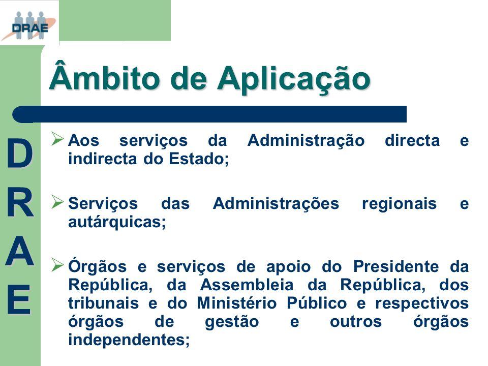 Âmbito de Aplicação Aos serviços da Administração directa e indirecta do Estado; Serviços das Administrações regionais e autárquicas; Órgãos e serviço
