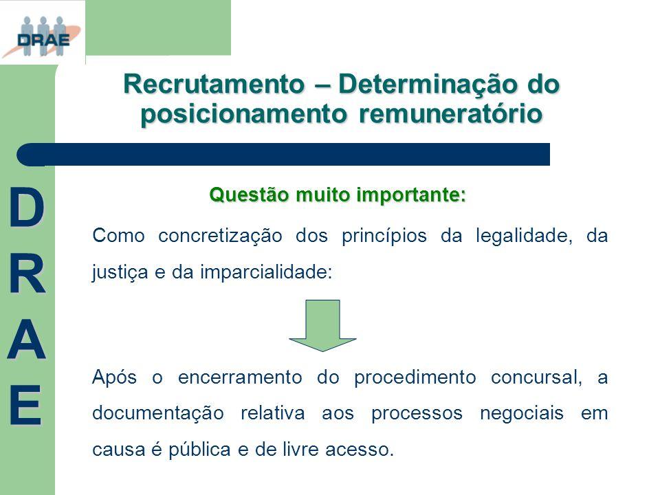 Recrutamento – Determinação do posicionamento remuneratório Questão muito importante: Como concretização dos princípios da legalidade, da justiça e da