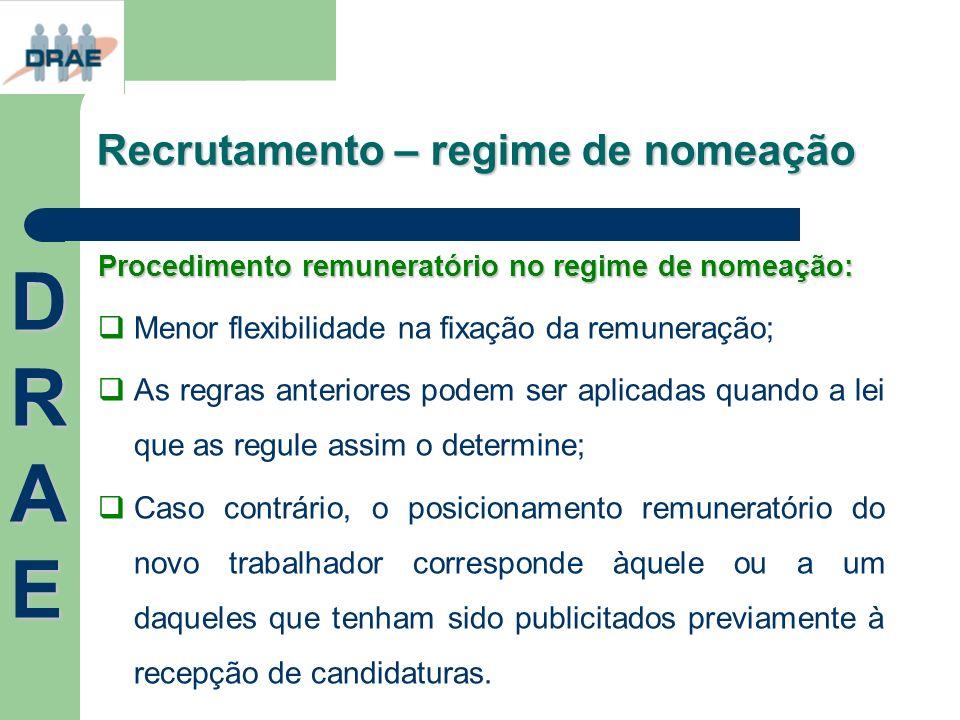 Recrutamento – regime de nomeação Procedimento remuneratório no regime de nomeação: Menor flexibilidade na fixação da remuneração; As regras anteriore