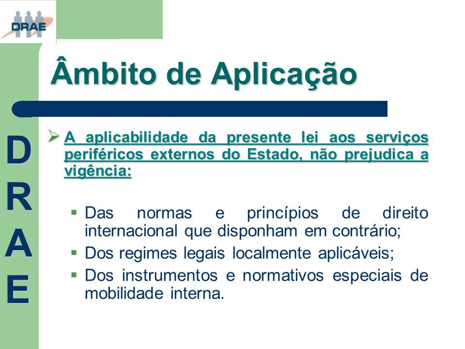 Âmbito de Aplicação A aplicabilidade da presente lei aos serviços periféricos externos do Estado, não prejudica a vigência: A aplicabilidade da presen