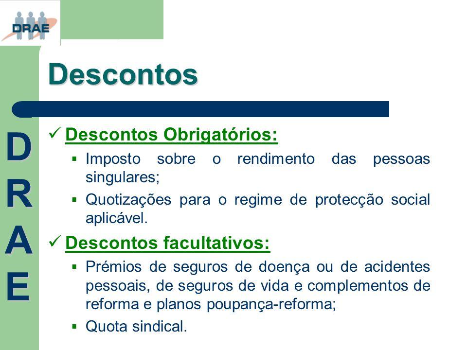 Descontos Descontos Obrigatórios: Imposto sobre o rendimento das pessoas singulares; Quotizações para o regime de protecção social aplicável. Desconto