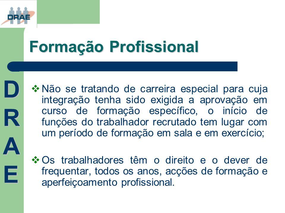 Formação Profissional Não se tratando de carreira especial para cuja integração tenha sido exigida a aprovação em curso de formação específico, o iníc