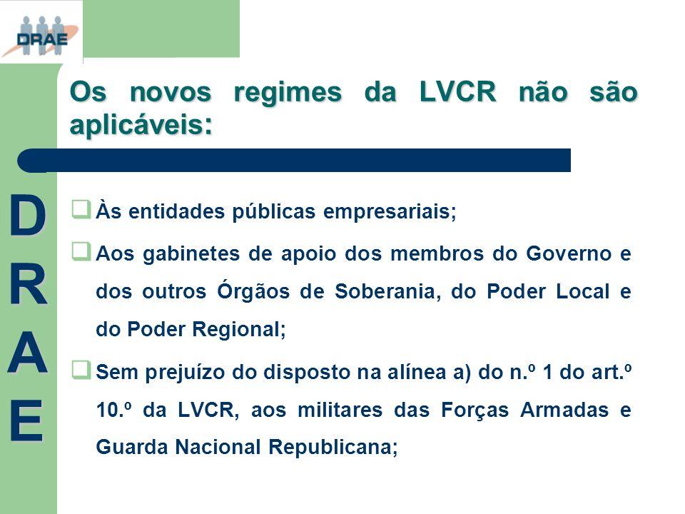 Os novos regimes da LVCR não são aplicáveis : Às entidades públicas empresariais; Aos gabinetes de apoio dos membros do Governo e dos outros Órgãos de