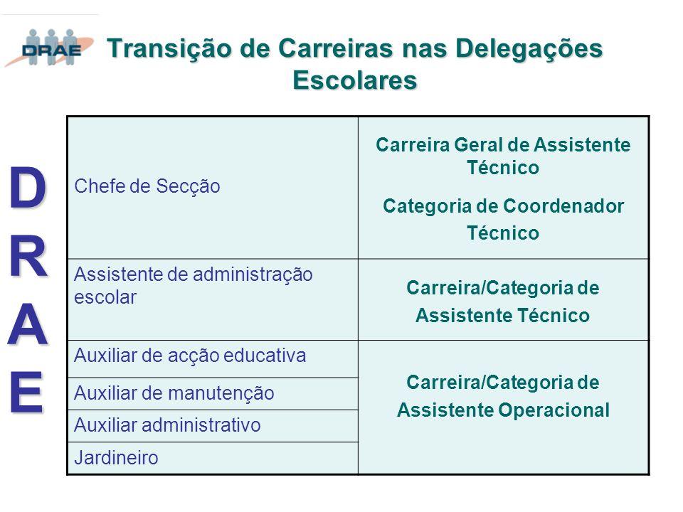 Transição de Carreiras nas Delegações Escolares DRAEDRAEDRAEDRAE Chefe de Secção Carreira Geral de Assistente Técnico Categoria de Coordenador Técnico