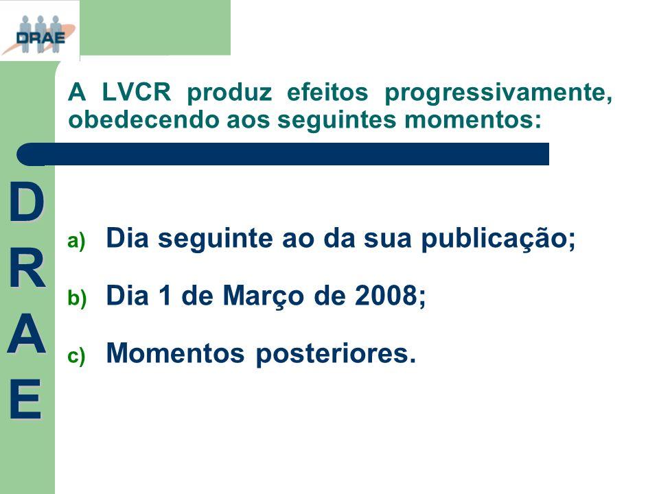 A LVCR produz efeitos progressivamente, obedecendo aos seguintes momentos: a) Dia seguinte ao da sua publicação; b) Dia 1 de Março de 2008; c) Momento
