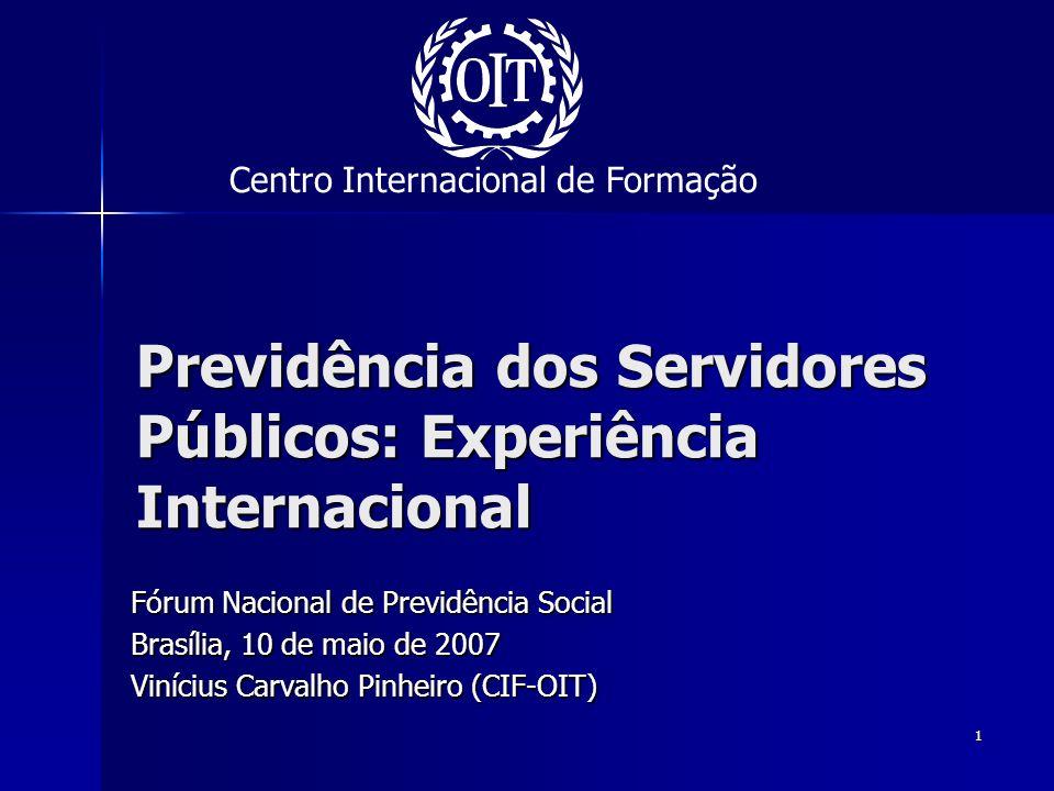 1 Previdência dos Servidores Públicos: Experiência Internacional Fórum Nacional de Previdência Social Brasília, 10 de maio de 2007 Vinícius Carvalho P