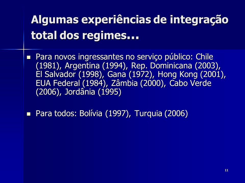 11 Algumas experiências de integração total dos regimes... Para novos ingressantes no serviço público: Chile (1981), Argentina (1994), Rep. Dominicana