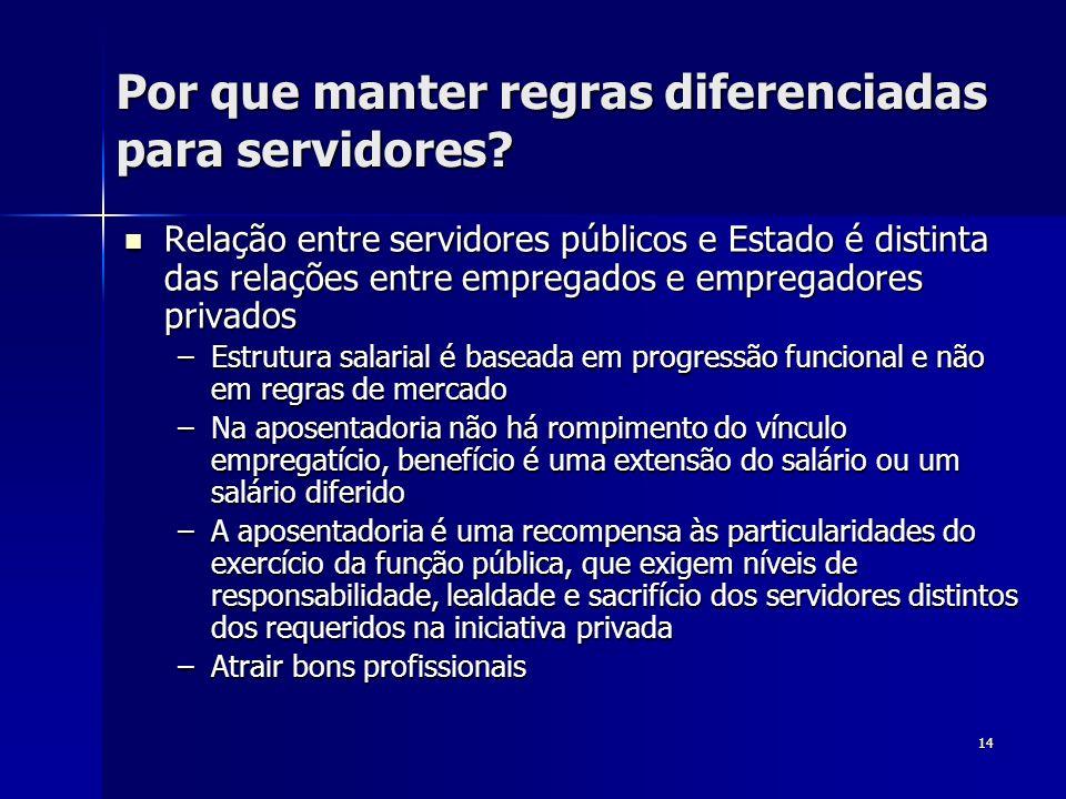 14 Por que manter regras diferenciadas para servidores? Relação entre servidores públicos e Estado é distinta das relações entre empregados e empregad