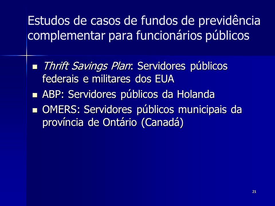 21 Estudos de casos de fundos de previdência complementar para funcionários públicos Thrift Savings Plan: Servidores públicos federais e militares dos