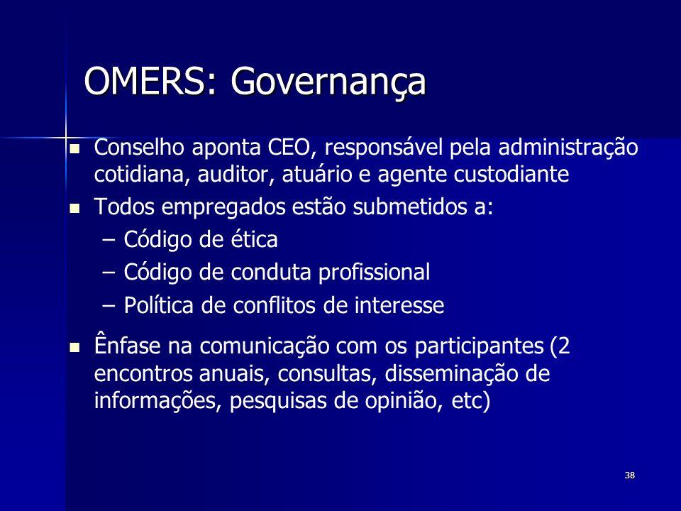 38 OMERS: Governança OMERS: Governança Conselho aponta CEO, responsável pela administração cotidiana, auditor, atuário e agente custodiante Todos empr