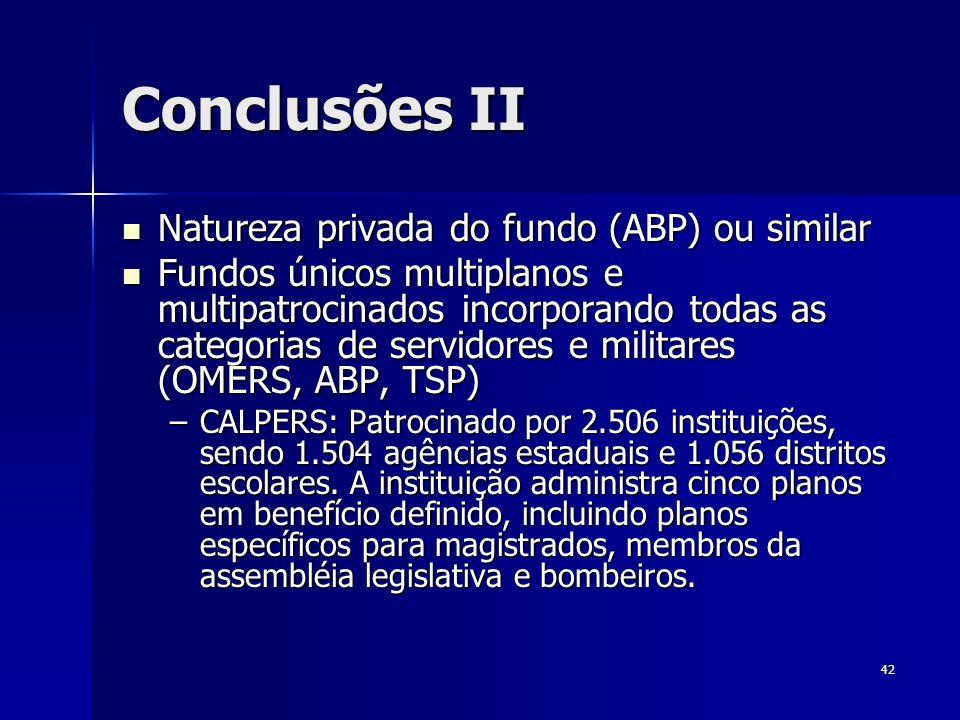 42 Conclusões II Natureza privada do fundo (ABP) ou similar Natureza privada do fundo (ABP) ou similar Fundos únicos multiplanos e multipatrocinados i
