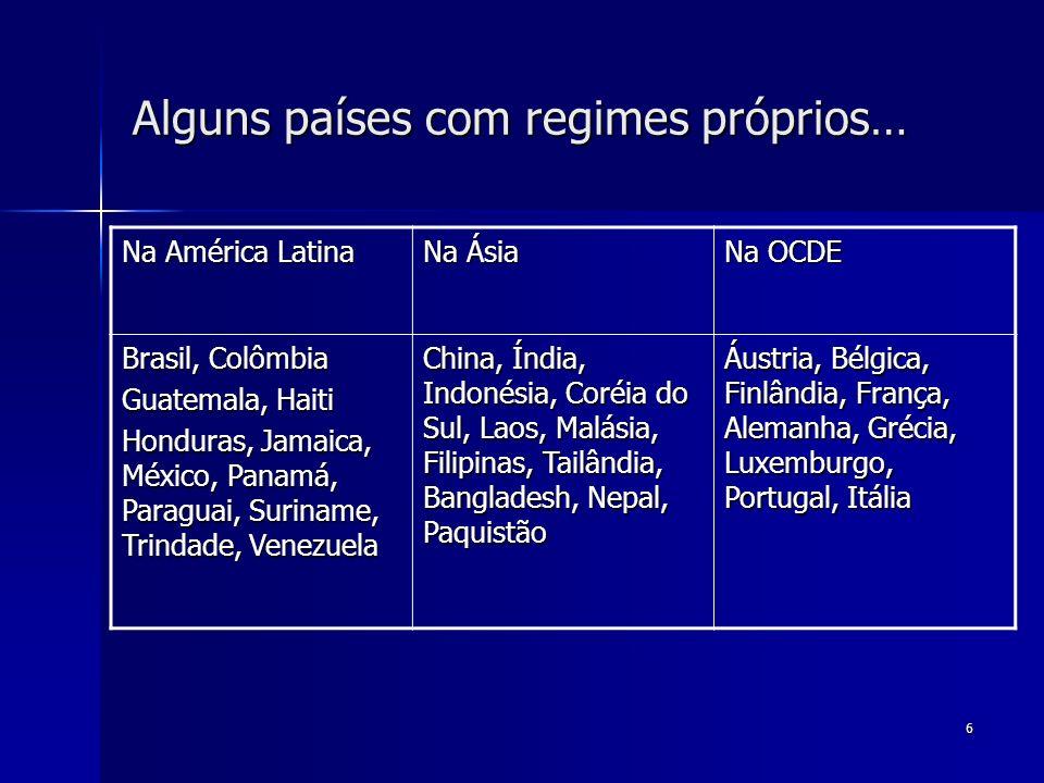 6 Alguns países com regimes próprios… Na América Latina Na Ásia Na OCDE Brasil, Colômbia Guatemala, Haiti Honduras, Jamaica, México, Panamá, Paraguai,