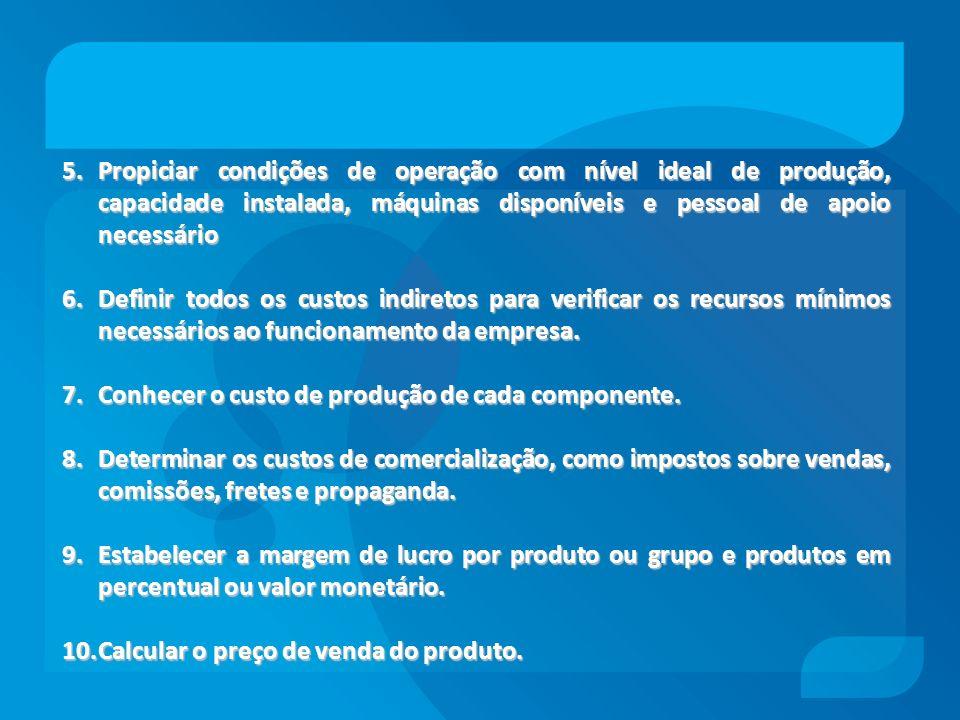 5.Propiciar condições de operação com nível ideal de produção, capacidade instalada, máquinas disponíveis e pessoal de apoio necessário 6.Definir todo