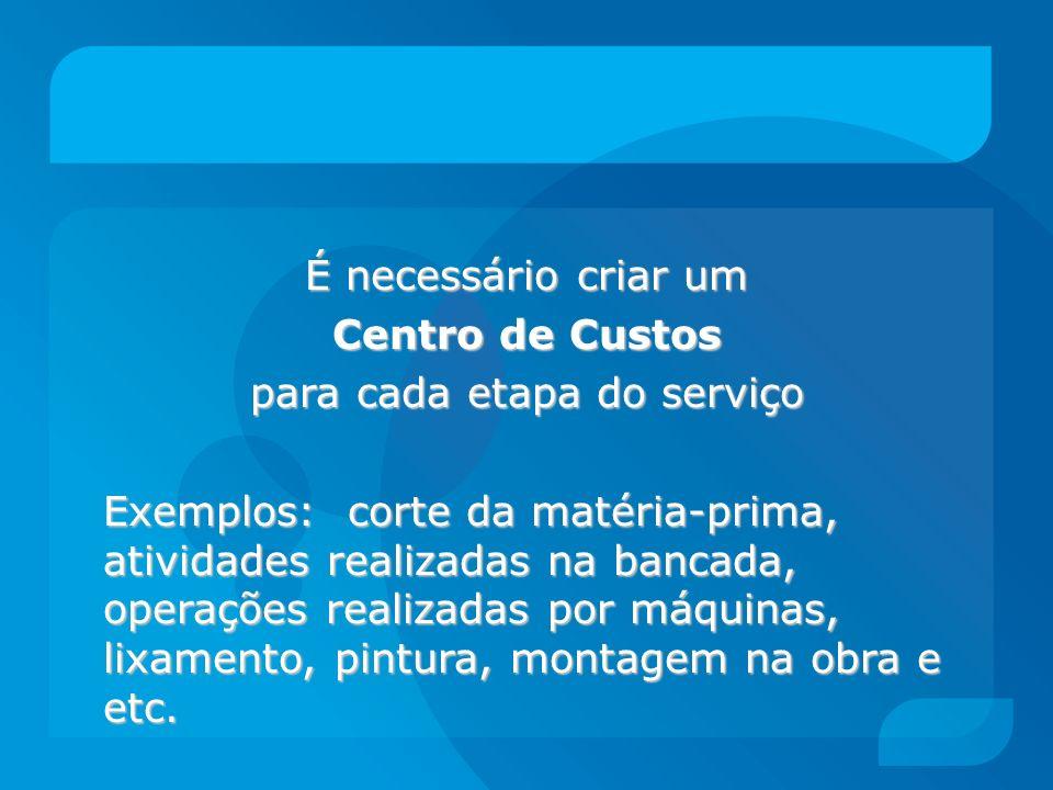 É necessário criar um Centro de Custos para cada etapa do serviço Exemplos: corte da matéria-prima, atividades realizadas na bancada, operações realiz
