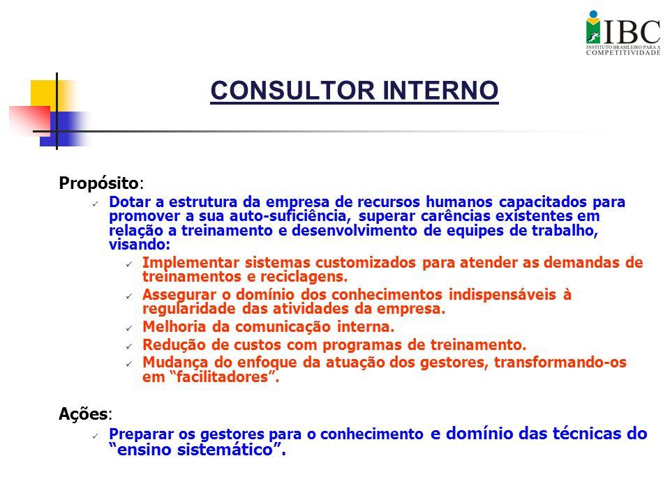 CONSULTOR INTERNO Propósito: Dotar a estrutura da empresa de recursos humanos capacitados para promover a sua auto-suficiência, superar carências exis