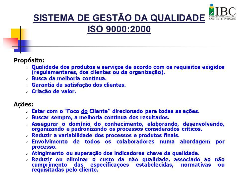 SISTEMA DE GESTÃO DA QUALIDADE ISO 9000:2000 Propósito: Qualidade dos produtos e serviços de acordo com os requisitos exigidos (regulamentares, dos cl