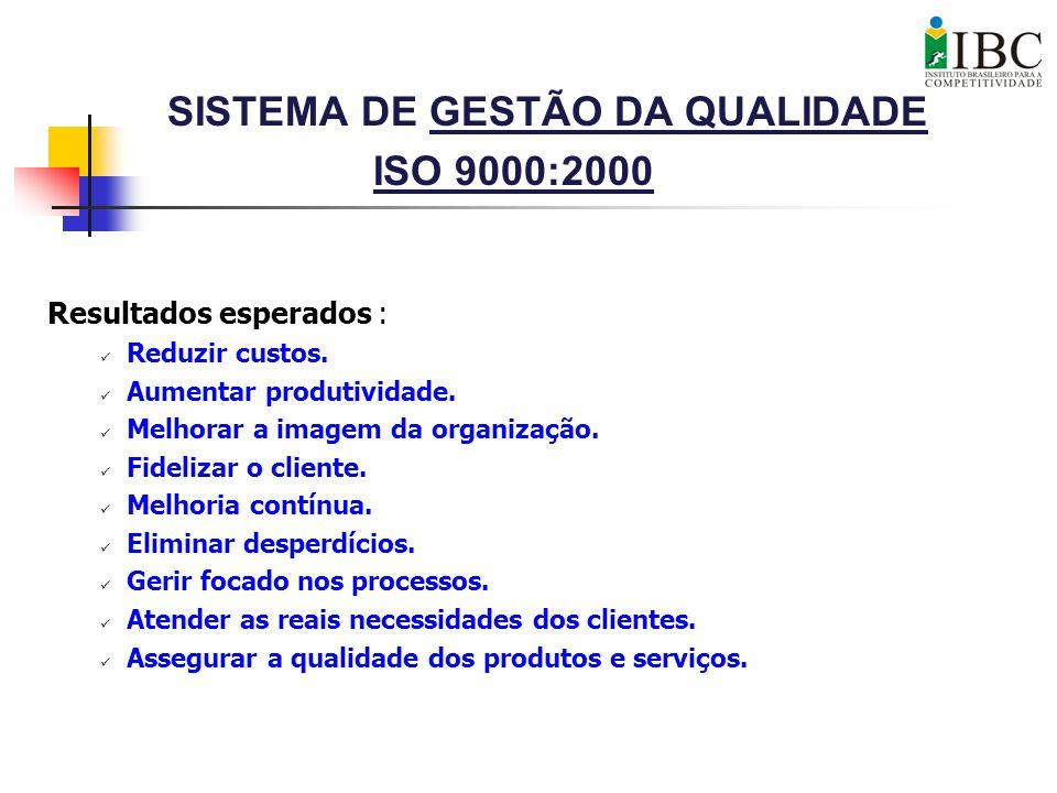 SISTEMA DE GESTÃO DA QUALIDADE ISO 9000:2000 Resultados esperados : Reduzir custos. Aumentar produtividade. Melhorar a imagem da organização. Fideliza