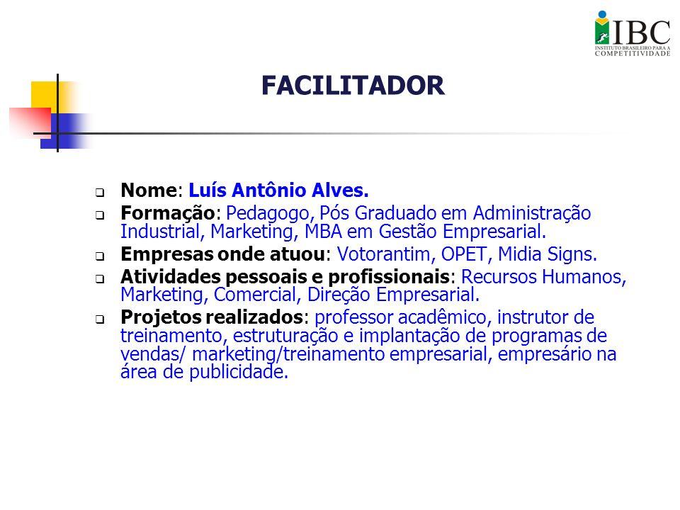 Nome: Luís Antônio Alves. Formação: Pedagogo, Pós Graduado em Administração Industrial, Marketing, MBA em Gestão Empresarial. Empresas onde atuou: Vot