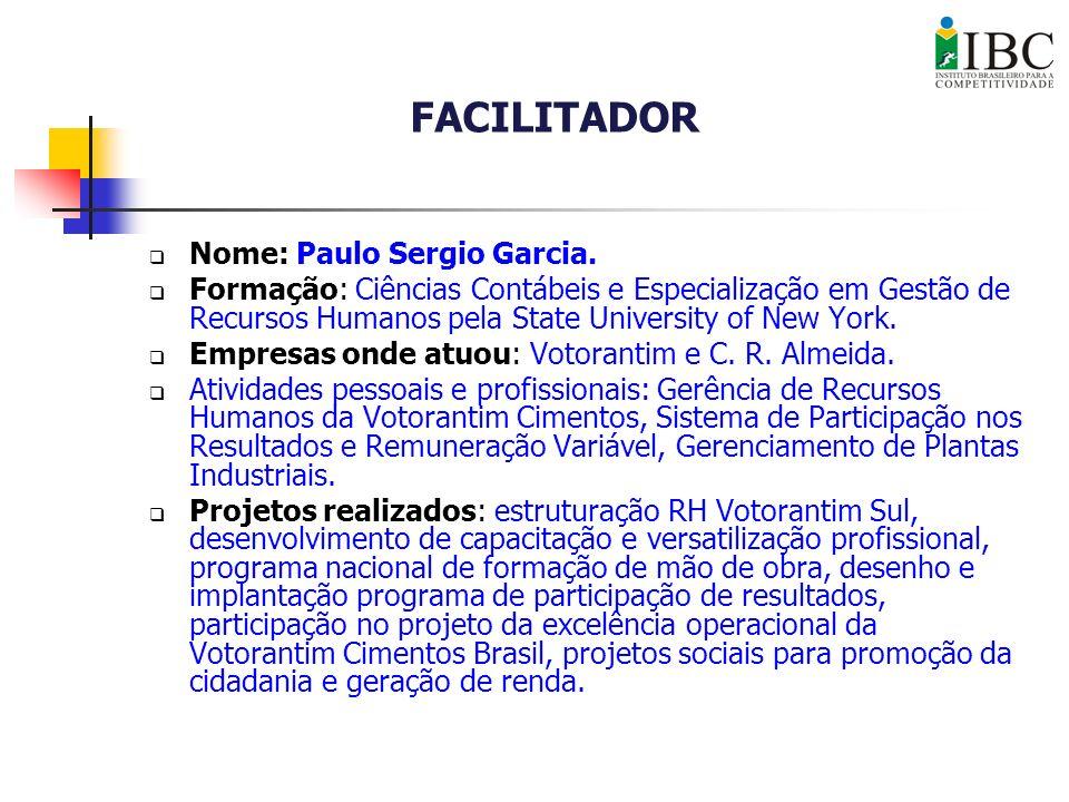 Nome: Paulo Sergio Garcia. Formação: Ciências Contábeis e Especialização em Gestão de Recursos Humanos pela State University of New York. Empresas ond