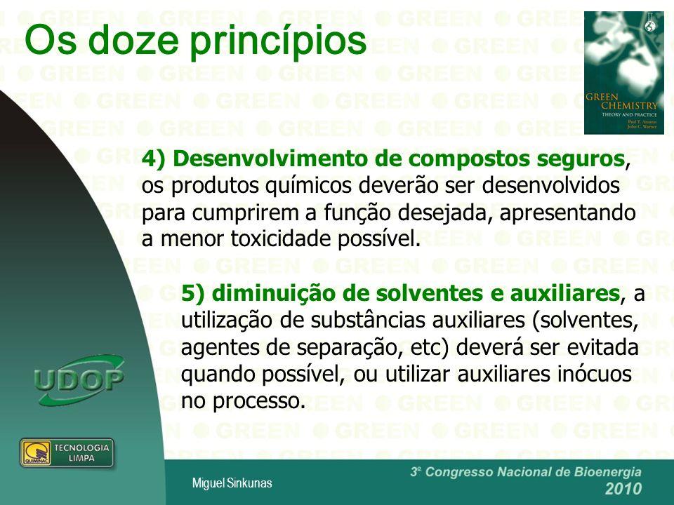Miguel Sinkunas Os doze princípios 6) Eficiência energética, os métodos sintéticos deverão ser conduzidos sempre que possível à pressão e temperatura ambientes, para diminuir a energia gasta durante um processo químico que representa um impacto econômico e ambiental.