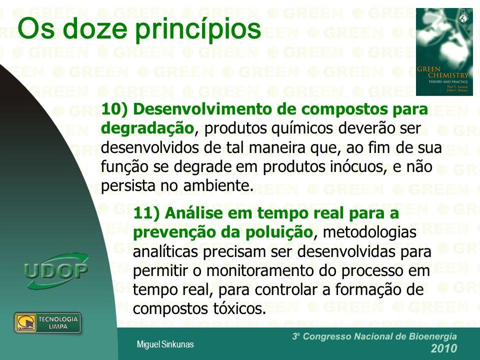 Miguel Sinkunas 10) Desenvolvimento de compostos para degradação, produtos químicos deverão ser desenvolvidos de tal maneira que, ao fim de sua função se degrade em produtos inócuos, e não persista no ambiente.