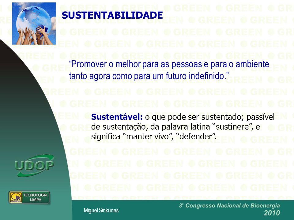Miguel Sinkunas SUSTENTABILIDADE Promover o melhor para as pessoas e para o ambiente tanto agora como para um futuro indefinido.