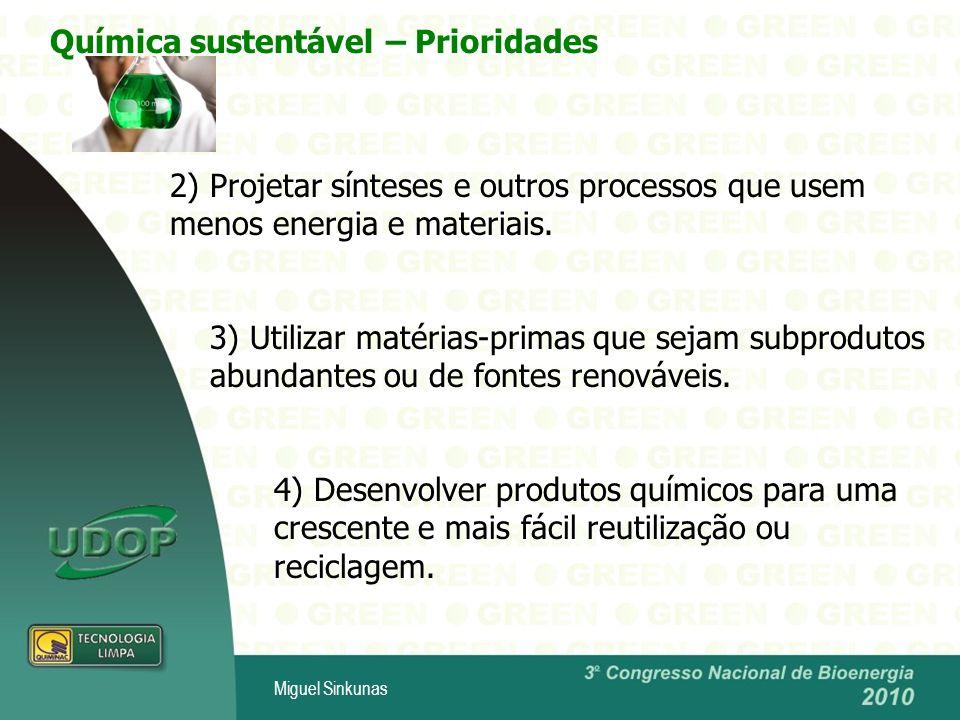 Miguel Sinkunas 3) Utilizar matérias-primas que sejam subprodutos abundantes ou de fontes renováveis.