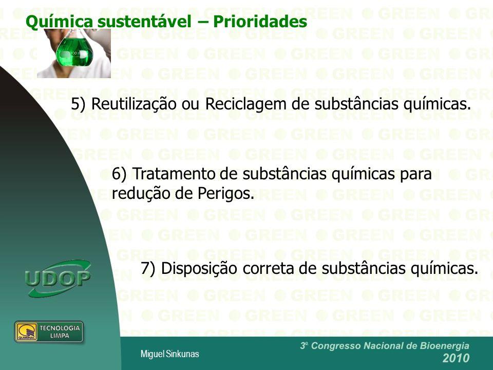 Miguel Sinkunas 5) Reutilização ou Reciclagem de substâncias químicas.