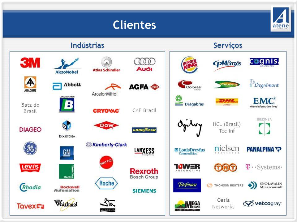 Clientes IndústriasServiços Batz do Brasil CAF Brasil HCL (Brasil) Tec Inf Oesia Networks