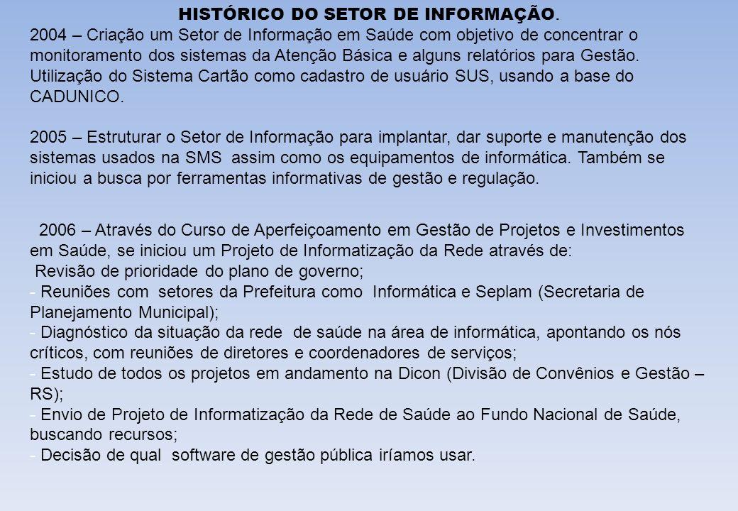 HISTÓRICO DO SETOR DE INFORMAÇÃO. 2004 – Criação um Setor de Informação em Saúde com objetivo de concentrar o monitoramento dos sistemas da Atenção Bá