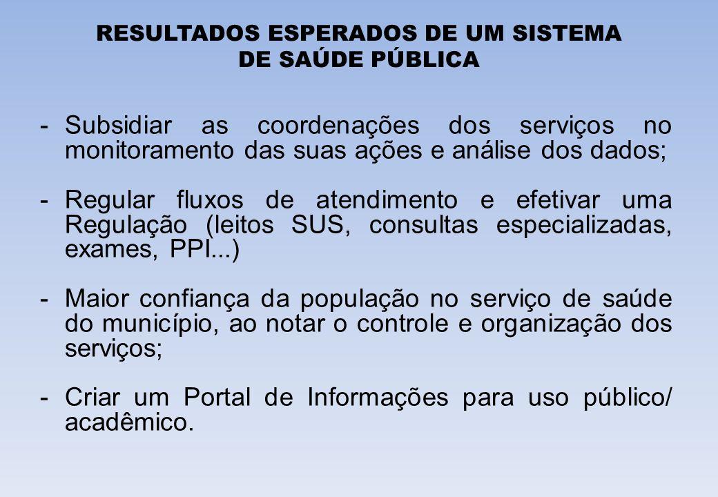 RESULTADOS ESPERADOS DE UM SISTEMA DE SAÚDE PÚBLICA -Subsidiar as coordenações dos serviços no monitoramento das suas ações e análise dos dados; -Regu