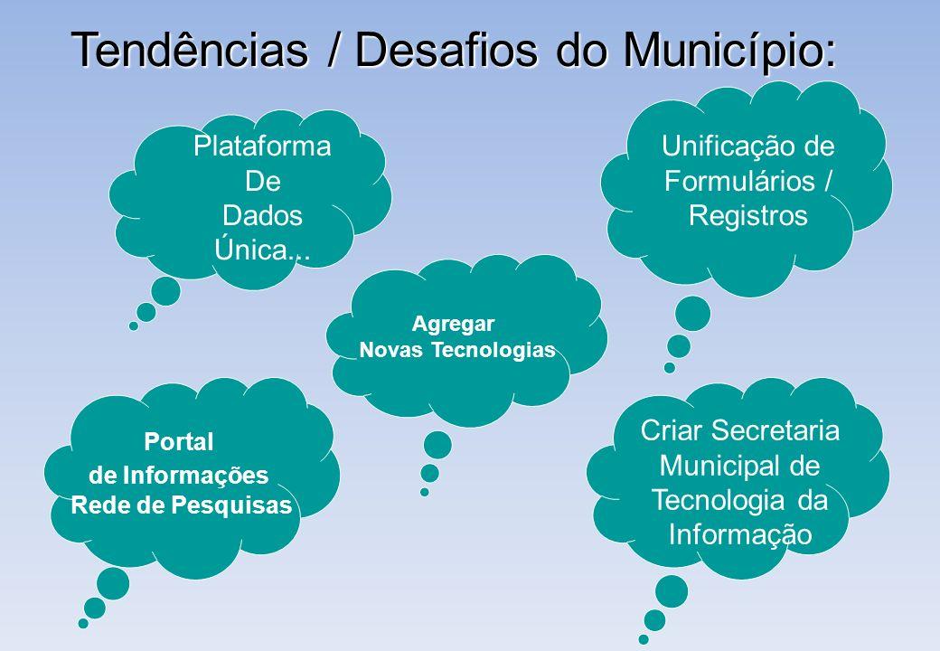 Tendências / Desafios do Município: Plataforma De Dados Única... Unificação de Formulários / Registros Criar Secretaria Municipal de Tecnologia da Inf