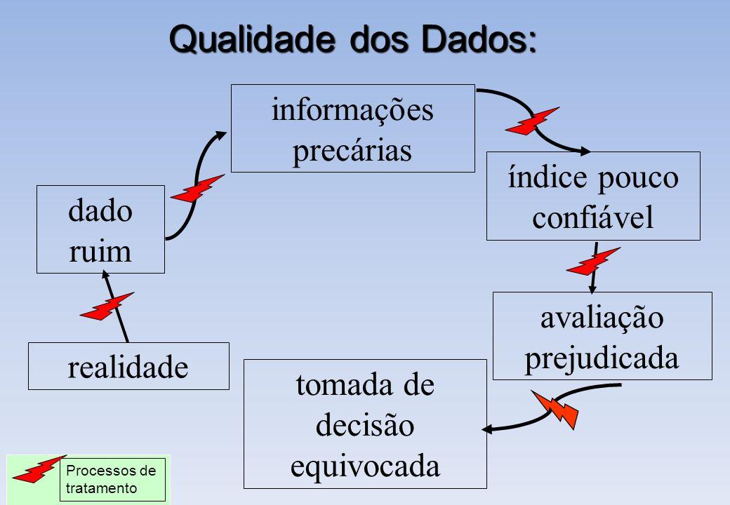 Qualidade dos Dados: dado ruim realidade informações precárias índice pouco confiável avaliação prejudicada tomada de decisão equivocada Processos de