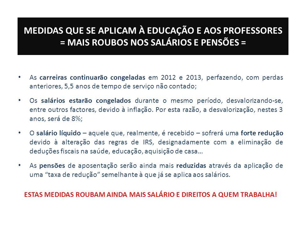 MEDIDAS QUE SE APLICAM À EDUCAÇÃO E AOS PROFESSORES = MAIS ROUBOS NOS SALÁRIOS E PENSÕES = As carreiras continuarão congeladas em 2012 e 2013, perfazendo, com perdas anteriores, 5,5 anos de tempo de serviço não contado; Os salários estarão congelados durante o mesmo período, desvalorizando-se, entre outros factores, devido à inflação.