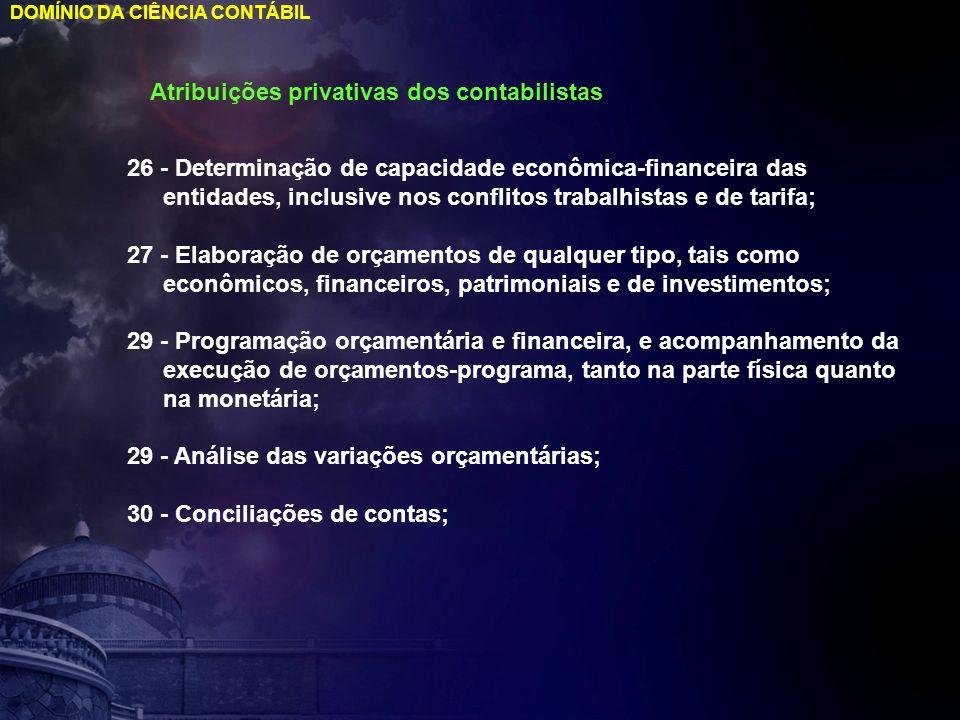 DOMÍNIO DA CIÊNCIA CONTÁBIL Atribuições privativas dos contabilistas 26 - Determinação de capacidade econômica-financeira das entidades, inclusive nos