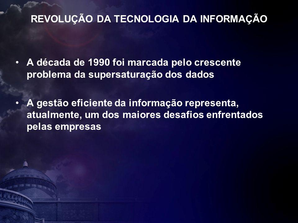 REVOLUÇÃO DA TECNOLOGIA DA INFORMAÇÃO A década de 1990 foi marcada pelo crescente problema da supersaturação dos dados A gestão eficiente da informação representa, atualmente, um dos maiores desafios enfrentados pelas empresas