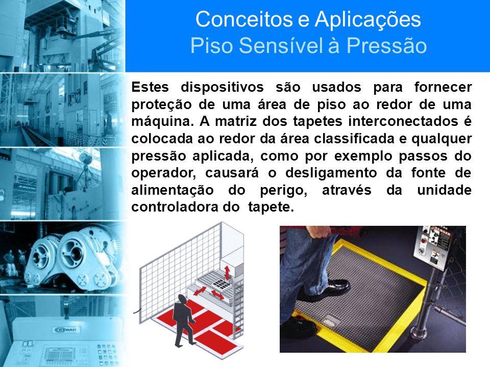 Conceitos e Aplicações Piso Sensível à Pressão Estes dispositivos são usados para fornecer proteção de uma área de piso ao redor de uma máquina. A mat
