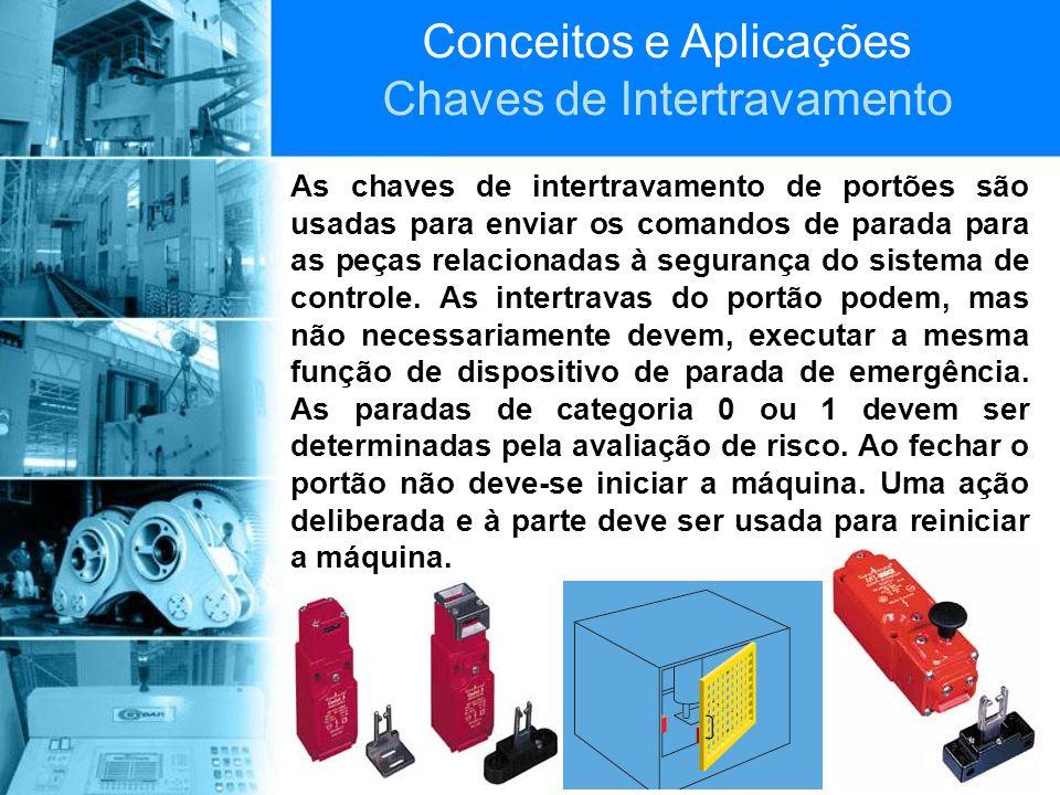 Conceitos e Aplicações Chaves de Intertravamento As chaves de intertravamento de portões são usadas para enviar os comandos de parada para as peças re