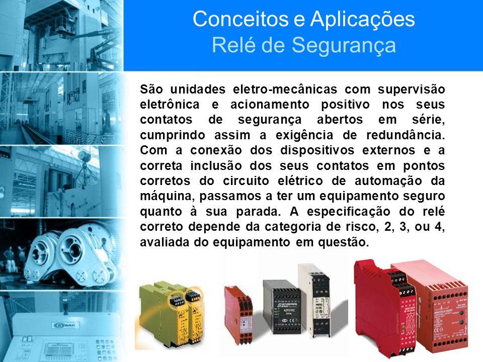 Conceitos e Aplicações Relé de Segurança São unidades eletro-mecânicas com supervisão eletrônica e acionamento positivo nos seus contatos de segurança
