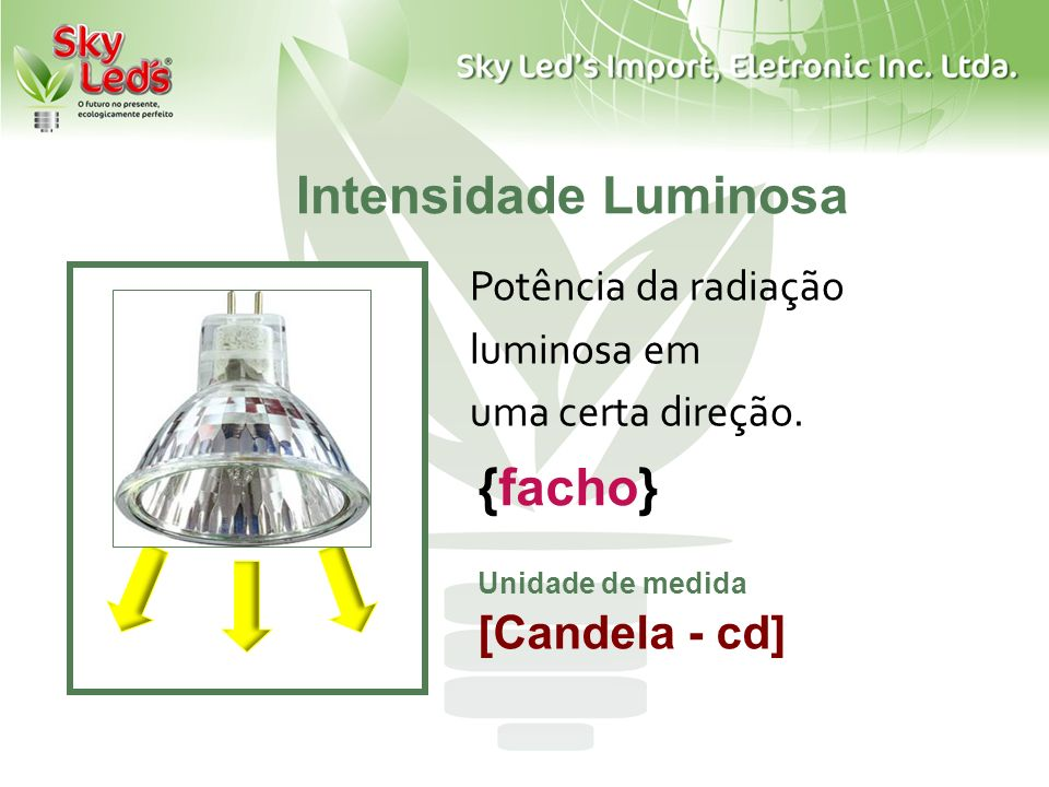 Intensidade Luminosa Potência da radiação luminosa em uma certa direção. Unidade de medida [Candela - cd] {facho}