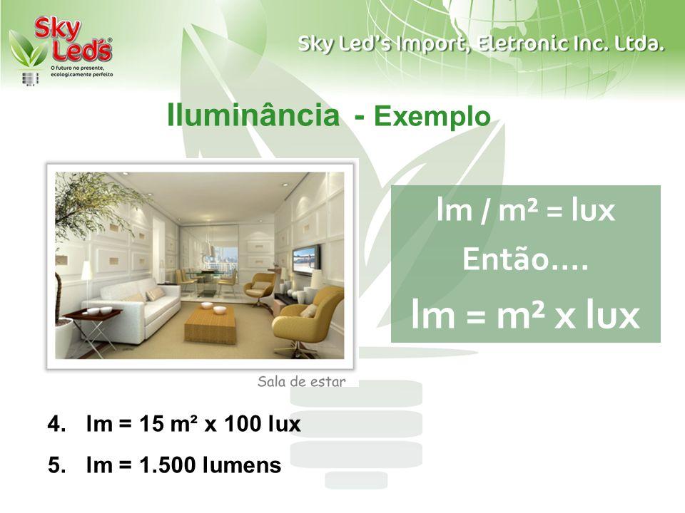 Iluminância - Exemplo lm / m² = lux Então.... lm = m² x lux 4.lm = 15 m² x 100 lux 5.lm = 1.500 lumens