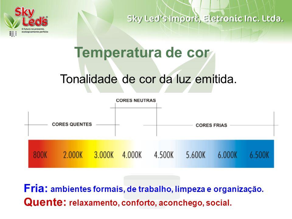 Tonalidade de cor da luz emitida. Fria: ambientes formais, de trabalho, limpeza e organização. Quente: relaxamento, conforto, aconchego, social. Tempe