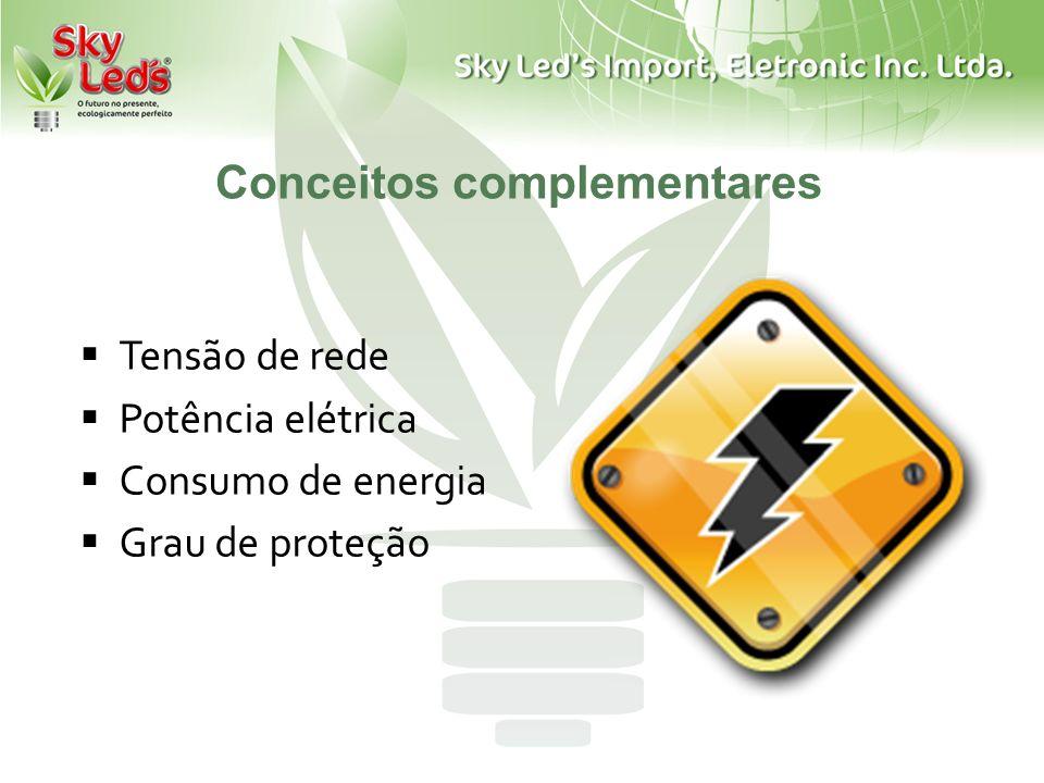 Conceitos complementares Tensão de rede Potência elétrica Consumo de energia Grau de proteção
