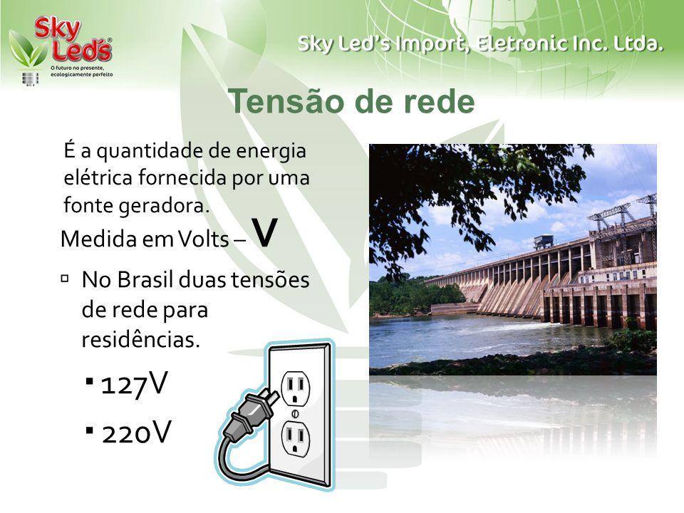 Tensão de rede Medida em Volts – V No Brasil duas tensões de rede para residências. 127V 220V É a quantidade de energia elétrica fornecida por uma fon