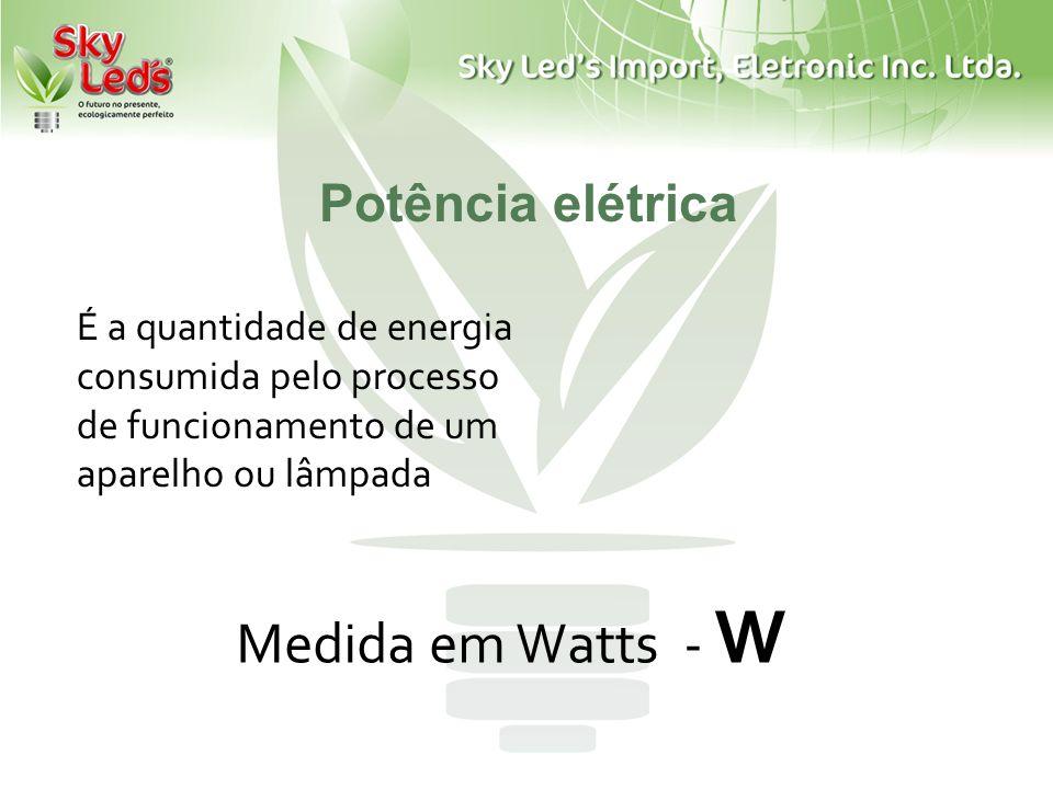 Potência elétrica Medida em Watts - W É a quantidade de energia consumida pelo processo de funcionamento de um aparelho ou lâmpada