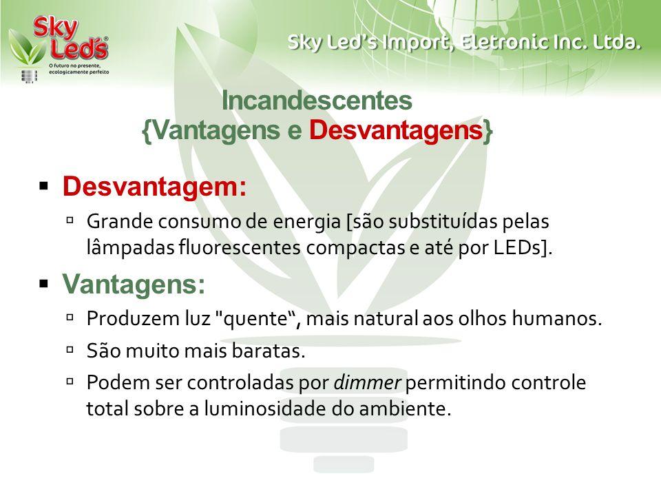 Incandescentes {Vantagens e Desvantagens} Desvantagem: Grande consumo de energia [são substituídas pelas lâmpadas fluorescentes compactas e até por LE