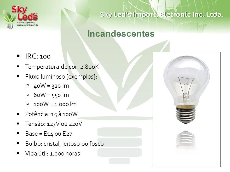 Incandescentes IRC: 100 Temperatura de cor: 2.800K Fluxo luminoso [exemplos]: 40W = 320 lm 60W = 550 lm 100W = 1.000 lm Potência: 15 à 100W Tensão: 12