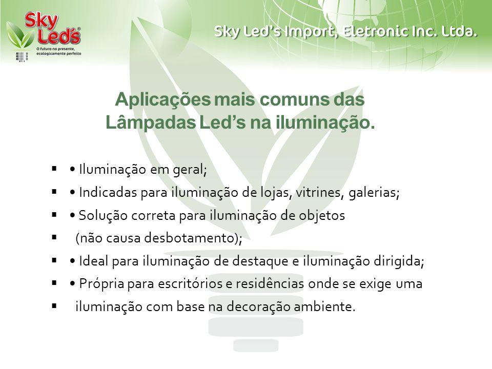 Aplicações mais comuns das Lâmpadas Leds na iluminação. Iluminação em geral; Indicadas para iluminação de lojas, vitrines, galerias; Solução correta p