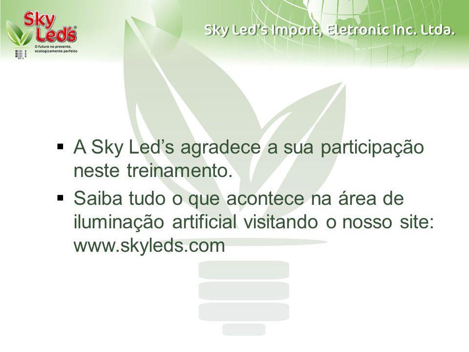 A Sky Leds agradece a sua participação neste treinamento. Saiba tudo o que acontece na área de iluminação artificial visitando o nosso site: www.skyle