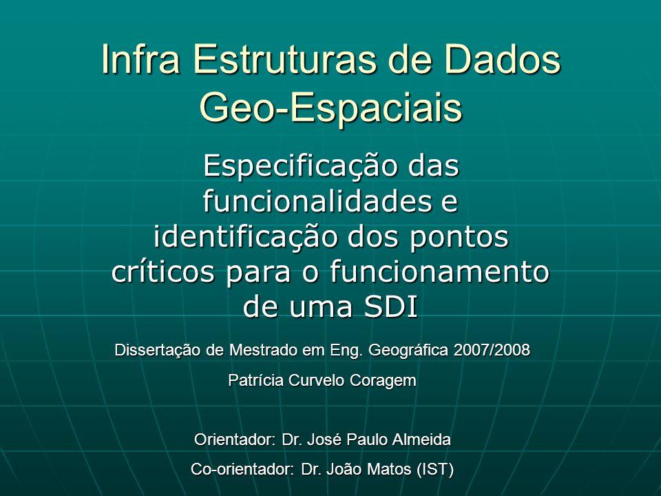 Infra Estruturas de Dados Geo-Espaciais Especificação das funcionalidades e identificação dos pontos críticos para o funcionamento de uma SDI Disserta